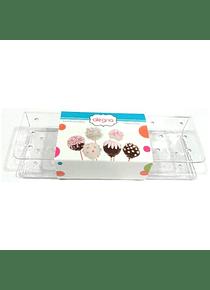Exhibidor 19 cakepops plast/trans 24X8 cm