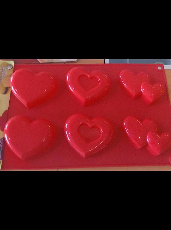 Moldes de silicón con formas de 6 corazones