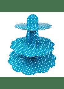 Base para pastelitos, cupcakes Turquesa con puntos blancos