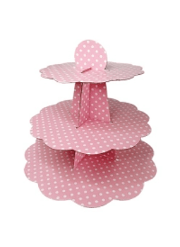 Base para pastelitos, cupcakes rosa con puntos blancos