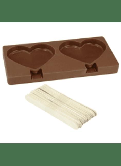 Molde paleta de silicón corazón 2 cav