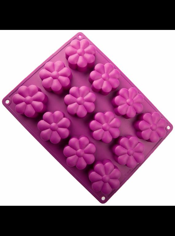 Molde de silicón Flores 12 cav (2 colores)
