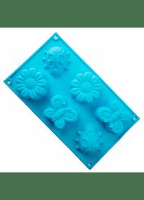 Molde de silicón con formas de flores, mariposa y catarina 6 cavidades