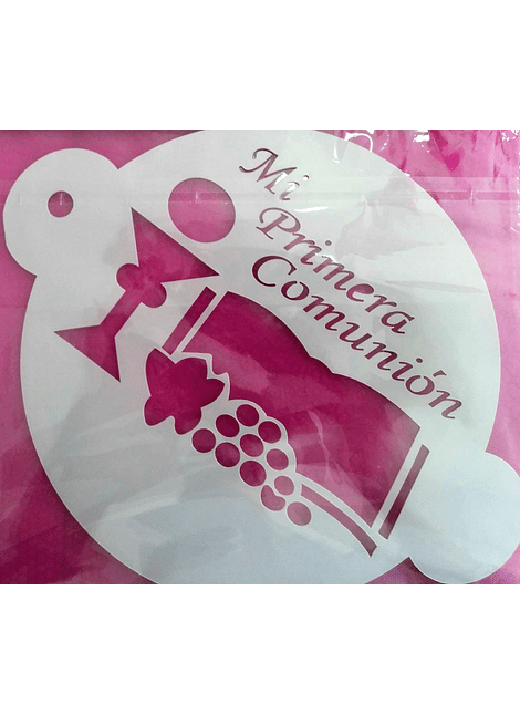 Stencil de 20 cm de diámetro mi primera comunión