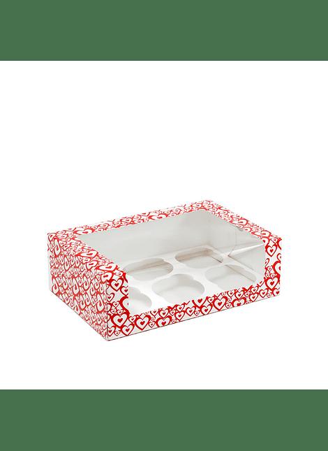 Caja para cupcakes corazones con ventanta 6 cav