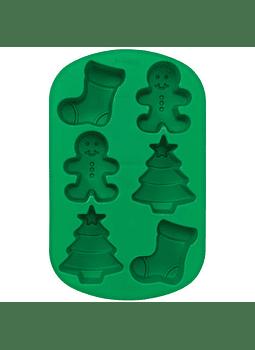 Molde niño jengibre calcetín árbol 6 cav silicón 21054893
