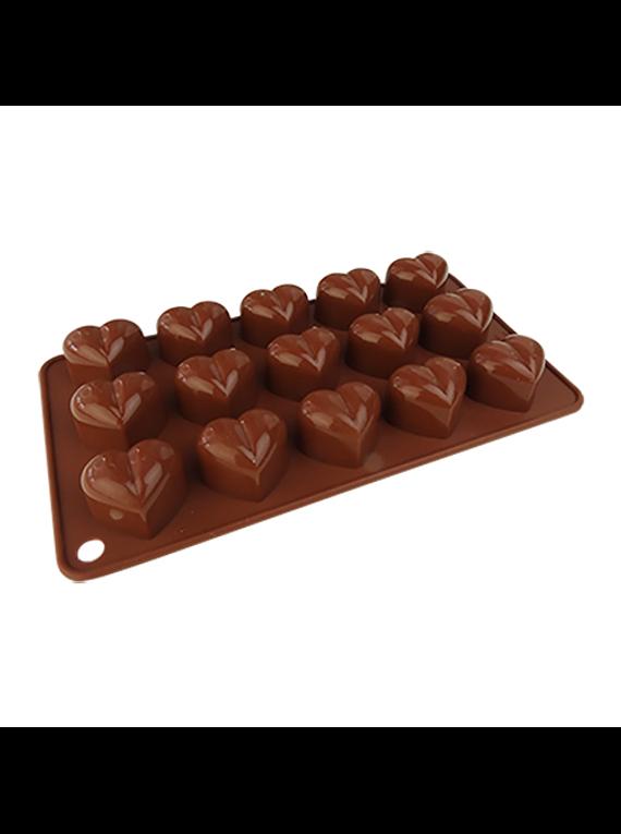 Molde de silicón p/chocolate corazón 5-5314