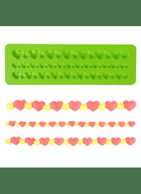 Molde silicón collar corazones 4-2457