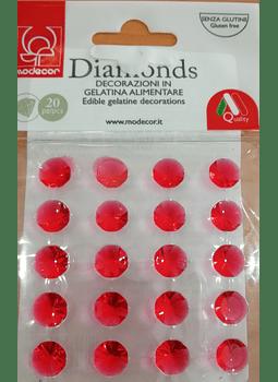 FRR Diamante comestible para decoración color rojo