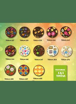 Transfer para chocolate varios diseños 4 tintas