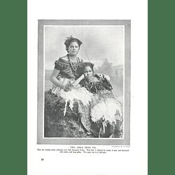 1910 Two Girls From Fiji Weary Native Petticoats Over European Frocks