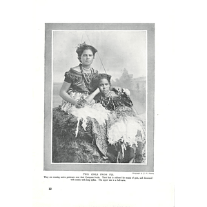 1910 Two Girls From Fiji Weary Native Petticoats Over European Frocks