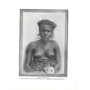 1910 Fijian Native Girl Hair Stiffened, Plaited Behind