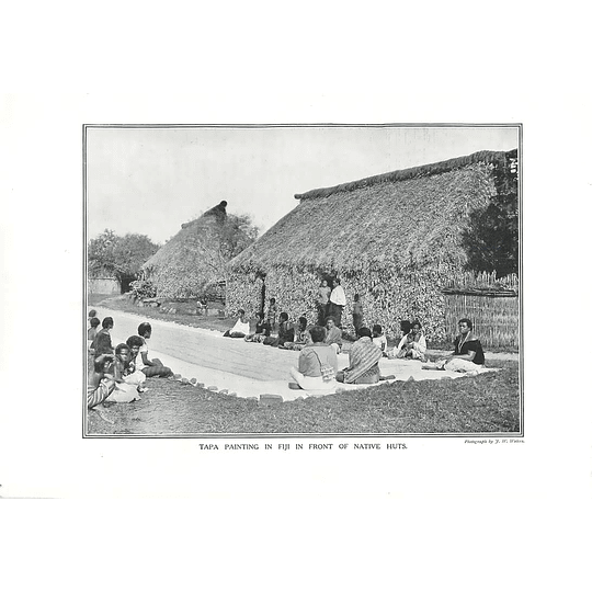 1910 Tapa Painting In Fiji In Front Of Native Huts