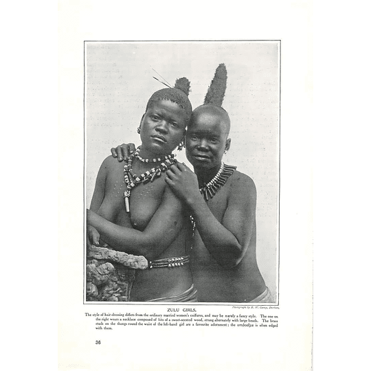 1910 Zulu Girls, Fancy Hairdressing, Thongs