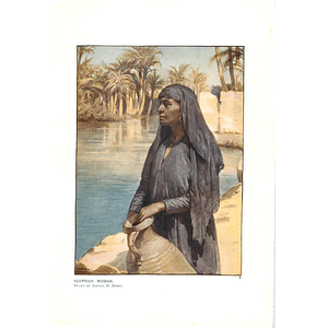 1910 Egyptian Woman With Water Pot, Drawing By Norman Hardy