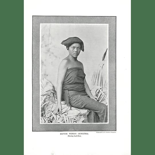 1910 Battak Woman, Sumatra, Showing Headdress, G Lambert Singapore