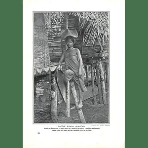 1910 Battak Woman, Sumatra, Resting On Ladder, Winnowing Basket, G Lambert
