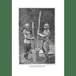1910 Kikuyu Girls Pounding Grain, Curious Ear Distortion, H Binks