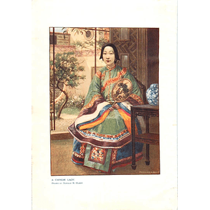 1910 Chinese Lady, Wealthy, Seated Pose Drawn By Norman Hardy