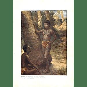 1910 Women Of Rennell Island, Polynesia, Drawn By Norman Hardy