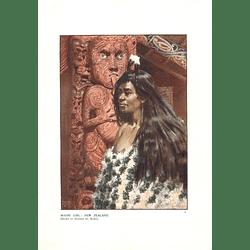 1910 Maori Girl New Zealand Drawn By Norman Hardy