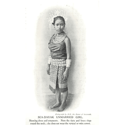 1910 Sea Dayak Unmarried Girl Showing Dress And Ornaments