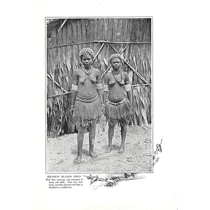 1910 Solomon Islands Girls, Fibre Petticoats Beads, Shells