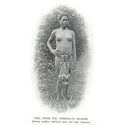 1910 Girl From The Admiralty Islands Showing Necklace Apron, Ornaments