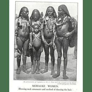 1910 Merauke Women Showing Neck Ornaments Hairdressing