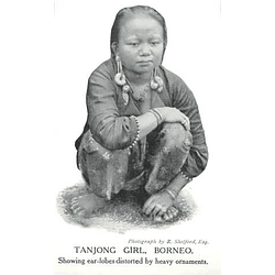 1910 Tanjong Girl, Borneo, Showing Earlobes Distorted