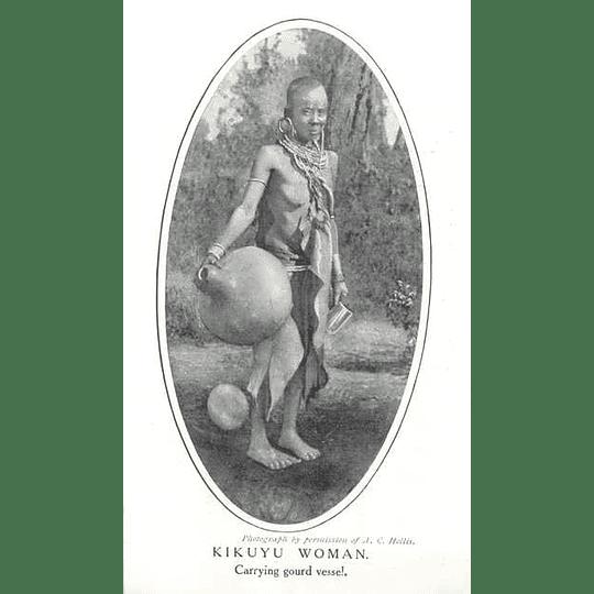 1910 Kikuyu Woman Carrying Gourd Vessel