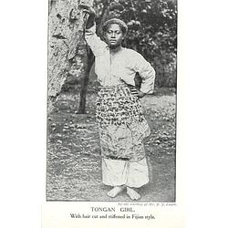 1910 Girl From Tonga, Hair Cut And Stiffened Fijian Style