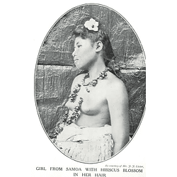 1910 Girl From Samoa With Hibiscus Blossoms In Her Hair