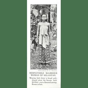 1910 Respectable Married Woman Of Kelantan, Flowers In Hair