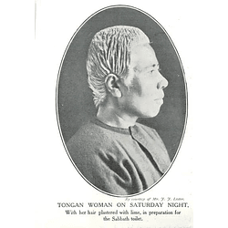 1910 Tongan Woman On Saturday Night, Hair Plastered With Lime Sabbath Toilet