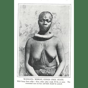 1910 Wangata Woman, Congo Free State Wearing Heavy Brass Collar