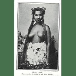 1910 Fijian Girl Showing Method Of Dressing Hair Before Marriage