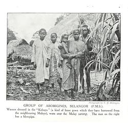 1910 Group Of Aborigines, Selangor, Man With Blowpipe
