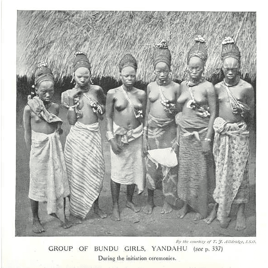 1910 Group Of Bundu Girls,yandahu, During Initiation Ceremonies