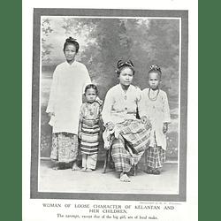 1910 Woman Of Loose Character Of Kelantan And Her Children