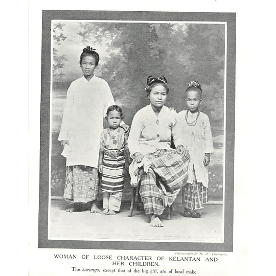 1910 Woman Of Loose Character Of Kelantan And Her Children