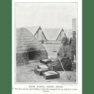 1910 Kafir Woman Baking Bread In Village, Corrugated Iron Roof