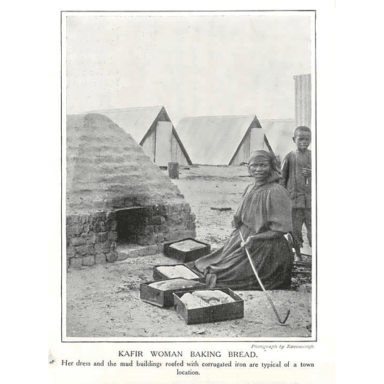 1910 Kafir Woman Baking Bread In Village, Corrugated Iron Roof