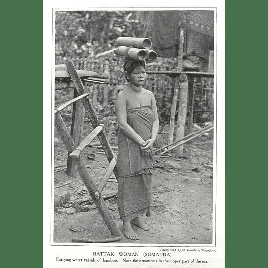 1910 Battak Woman Of Sumatra, Carrying Water Vessels Of Bamboo