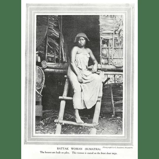 1910 Battak Woman Of Sumatra, Houses Built On Piles