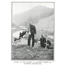 1910 Women Of Champery Switzerland, Looking After Goats, Trousers
