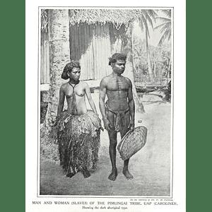 1910 Man And Woman Slaves Of The Pimlingai Tribe, Uap, Carolines,