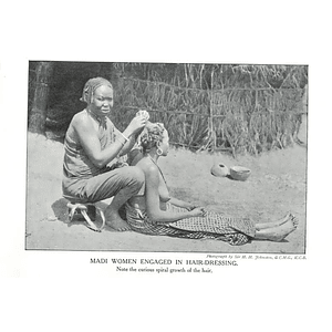 1910 Madi Women Engaged In Hairdressing, Curious Spiral Growth Of Hair