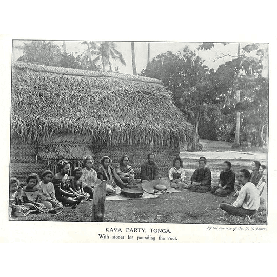 1910 Kava Party Tonga, , With Stones For Pounding The Root